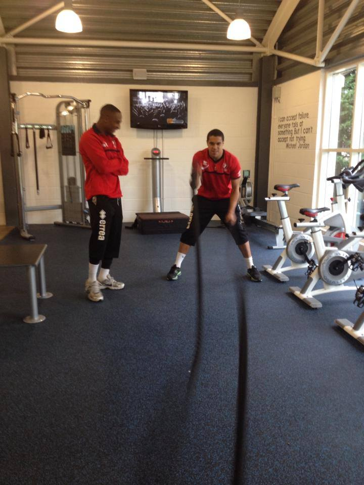 Cheltenham Football Club Team training at Leisure at Cheltenham